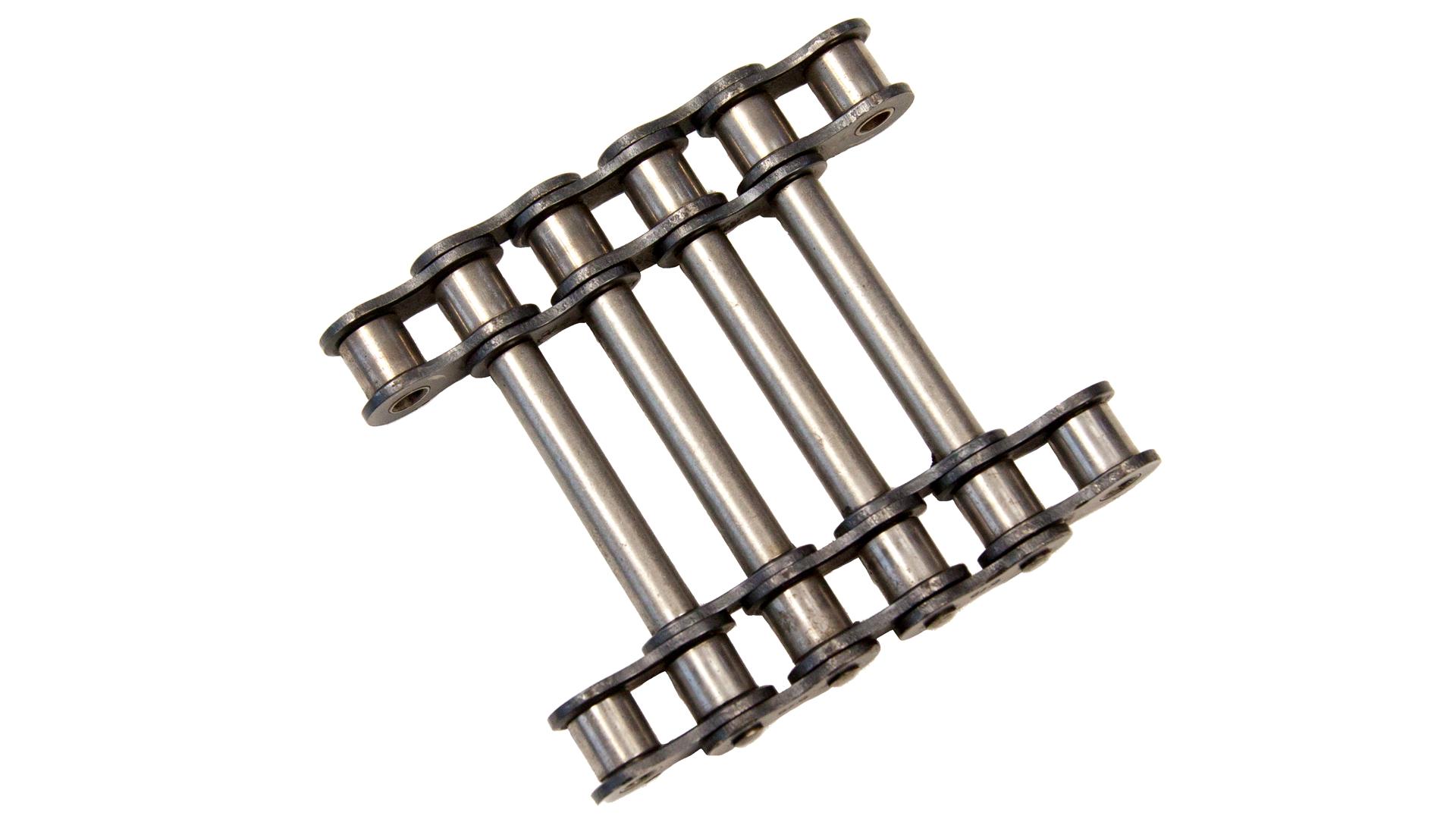 Einfach-Rollenkette (Simplex), doppelsträngig (für Parallellauf) mit durchgehenden Achsen