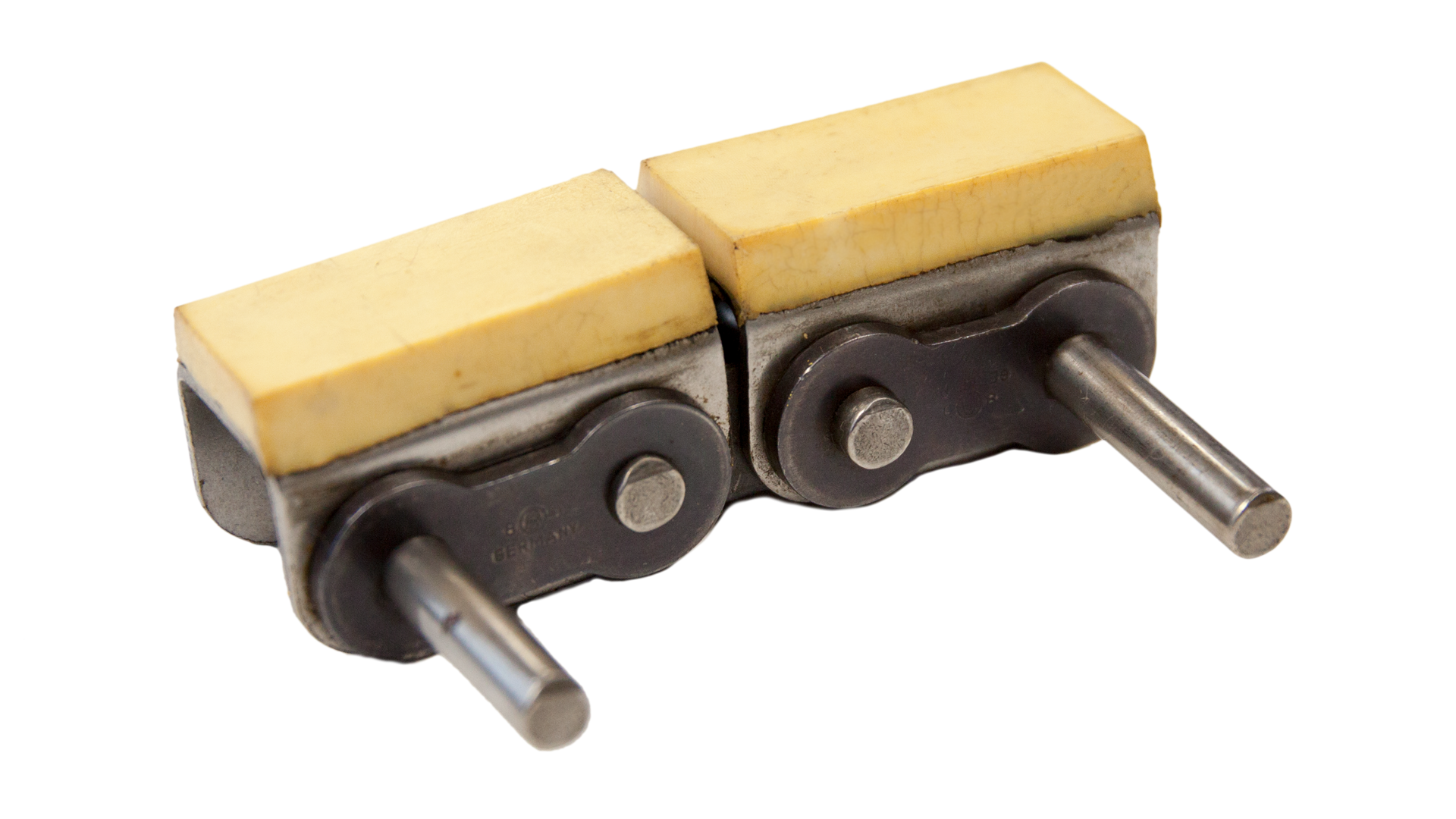 Einfach-Rollenkette (Simplex), mit U-Bügel und aufvulkanisiertem Gummiprofil (Elastomerprofil)