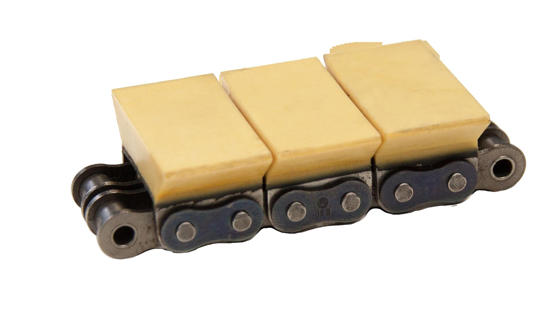 Zweifach-Rollenkette (duplex), mit U-Bügel und aufvulkanisiertem Gummiprofil (Elastomerprofil)